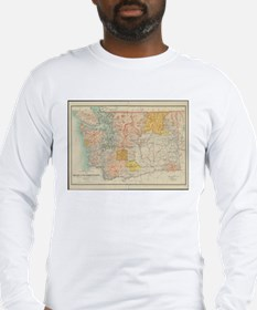 Vintage Map of Washington Stat Long Sleeve T-Shirt