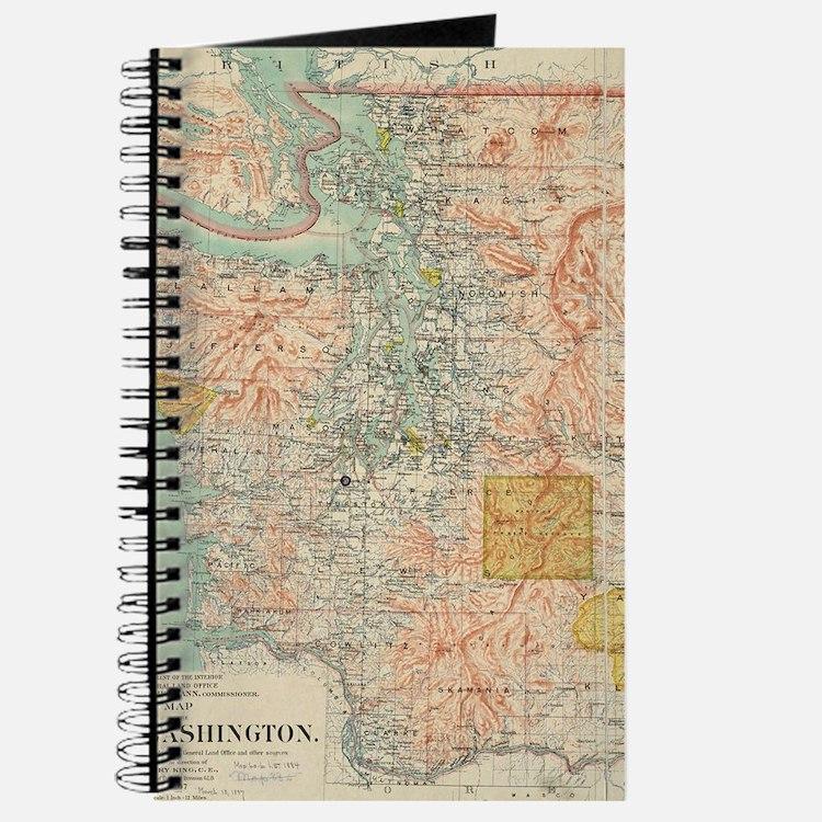 Vintage Map of Washington State (1897) Journal