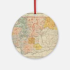 Vintage Map of Washington State (18 Round Ornament