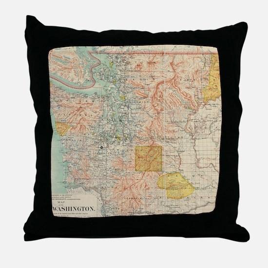 Vintage Map of Washington State (1897 Throw Pillow