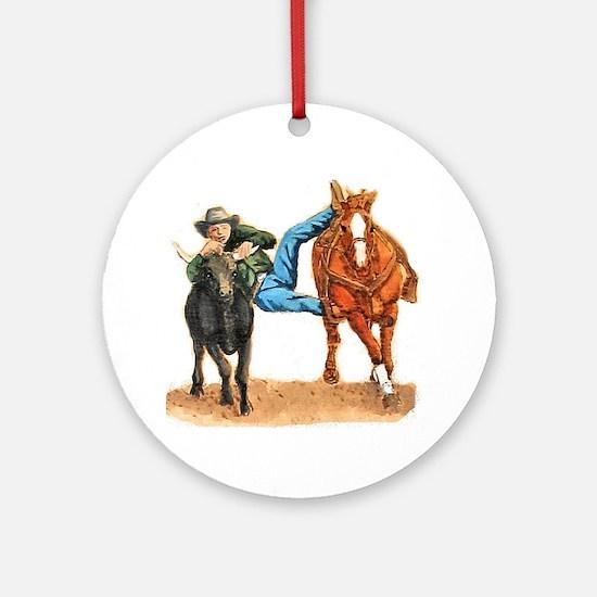 Bull Doggin, Steer Wrestling Ornament (Round)