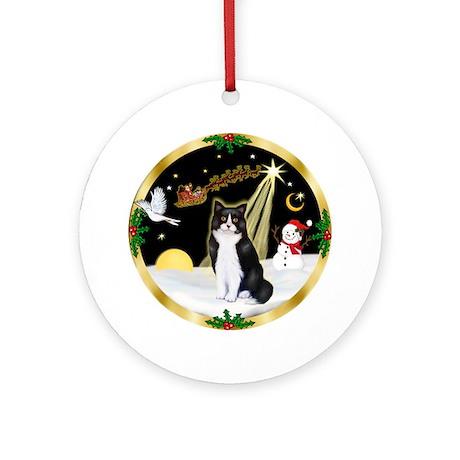 Night Flight - BW Cat Ornament (Round)