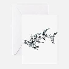 Tribal Hammerhead Shark Greeting Cards