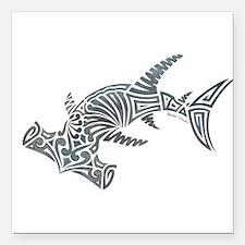 "Tribal Hammerhead Shark Square Car Magnet 3"" x 3"""