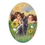 Angels & Russian Blue cat Oval Ornament