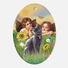Angels & Russian Blue cat Oval Ornament