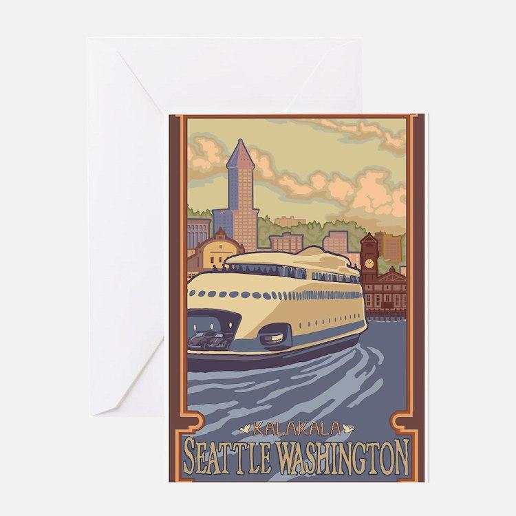 Seattle, Washington - Kalakala Ferry Greeting Card