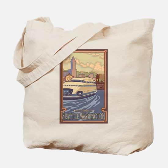Seattle, Washington - Kalakala Ferry Tote Bag