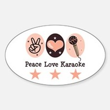 Peace Love Karaoke Oval Decal