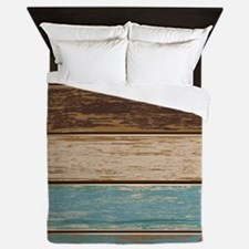 Painted Wood Teal Queen Duvet