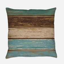 Painted Wood Teal Everyday Pillow