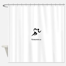 Team Track Monogram Shower Curtain