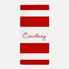 Red Stripes Personalized Beach Towel
