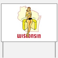 Vintage Wisconsin Pinup Yard Sign