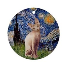 Starry Night Sphynx Cat Ornament (Round)