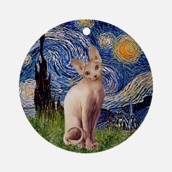 Starry Night Sphynx Cat Ornament (Round)