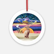 Xmas Star & Sphynx Cat Ornament (Round)