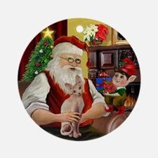 Santa's Sphynx cat Ornament (Round)