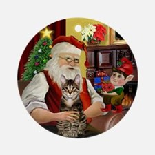 Santa's Tabby Cat Ornament (Round)