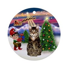 Santa's Take off & Tabby Cat Ornament (Round)