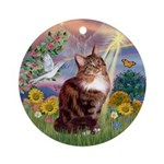 Cloud Angel & Maine Coon Cat Ornament (Round)