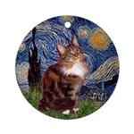 Starry Night Maine Coon Ornament (Round)