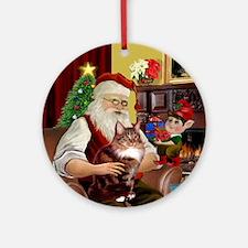 Santa's Maine Coon (#12) Ornament (Round)