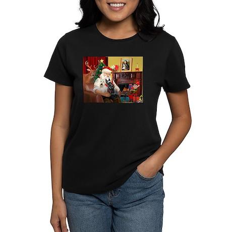 Santa's two Scotties (P1) Women's Dark T-Shirt