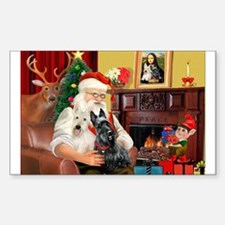 Santa's two Scotties (P1) Rectangle Decal