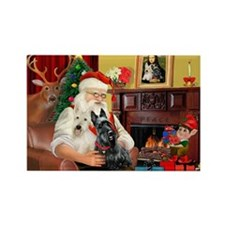Santa's two Scotties (P1) Rectangle Magnet (10 pac