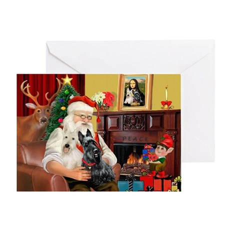Santa's two Scotties (P1) Greeting Card