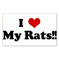 I Love My Rats!! Rectangle Decal