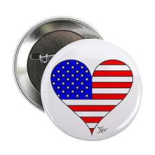 "USA Flag Heart 2.25"" Button (10 pack)"