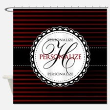 Monogrammed Red and White Stripes Shower Curtain