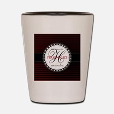 Monogrammed Red and White Stripes Shot Glass