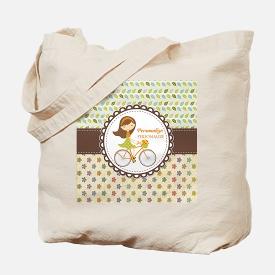 Vintage Floral Personalized Cute Bicycle Tote Bag