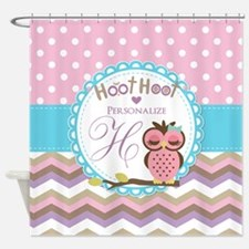 Owl Chevron Polka Dots Personalized Shower Curtain