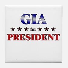GIA for president Tile Coaster