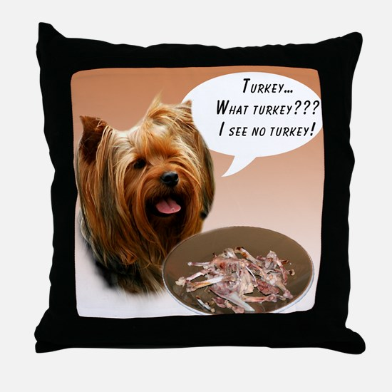 Yorkie Turkey Throw Pillow
