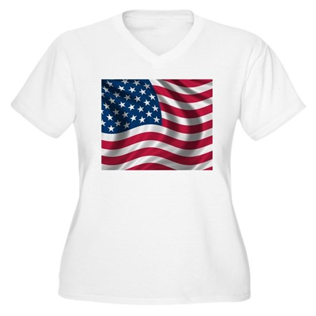 Usa Flag Women 39 S Plus Size V Neck T Shirt Usa Flag Plus