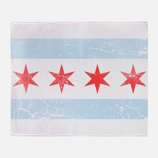 Vintage Distressed Chicago Flag Throw Blanket