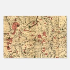 Vintage Map of Yellowston Postcards (Package of 8)