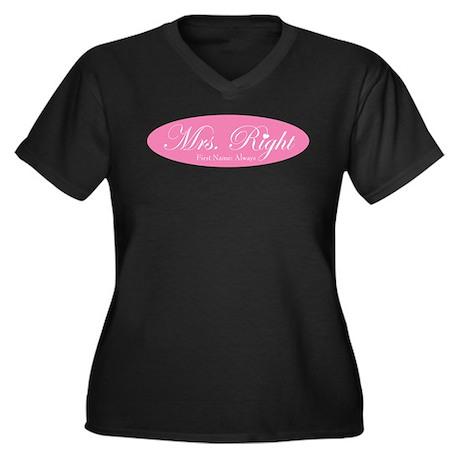Mrs. Right Women's Plus Size V-Neck Dark T-Shirt