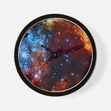 Orange Nebula Wall Clock