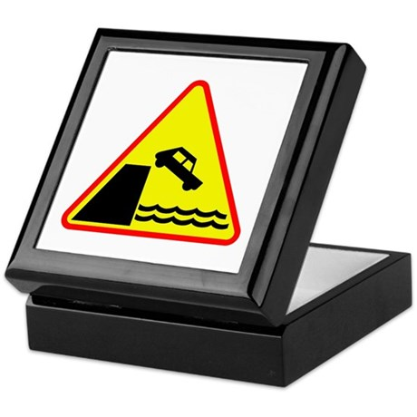 Off the Cliff Road Sign Keepsake Box