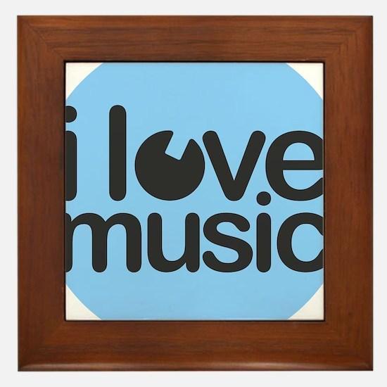 I Love Music Blue Framed Tile