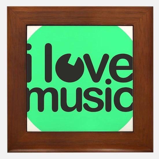 I love Music Green Framed Tile