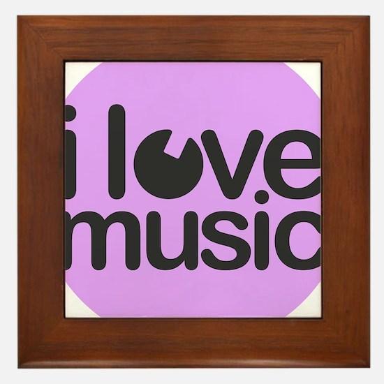 I Love Music Lilac Framed Tile