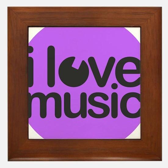 I Love Music Purple Framed Tile