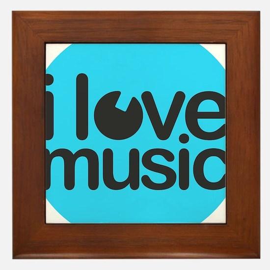 I Love Music Turquoise Framed Tile